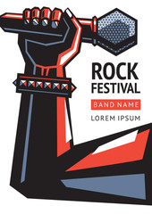 Rock concert poster with a microphone. Illustration in a retro style poster. Template for billboard. Promotion of a good music.
