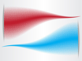 Abstract halftone blue and red background waves with paper cut effect