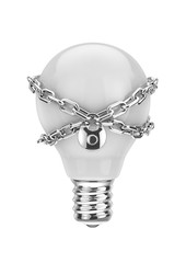 Intellectual property / 3D render of light bulb with lock chain