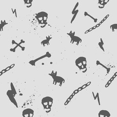 Vector dark seamless pattern with skull, bones and ugly dog for