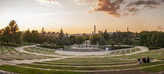 Sunset in Madrid, Spain at the Enrique Tierno Galvan Park.