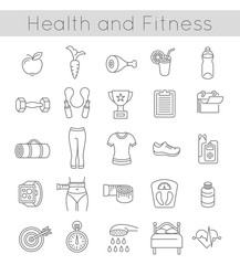 Modern flat linear vector icons of healthy lifestyle, fitness and physical activity. Diet, exercising in a gym, training equipment and clothing. Thin line wellness icons for website, apps, advertising
