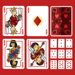 Diamond Suit Playing Cards Full Set, include King Queen Jack and Ace of Diamond