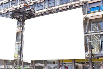 Blank billboard in a city street