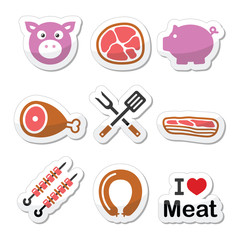 Pig, pork meat - ham and bacon labels icons set