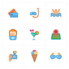 9 flat free travel icons