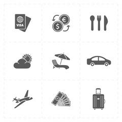9 flat travel company icons