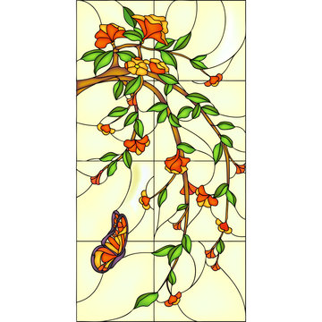 Flowers and butterfly, stained glass