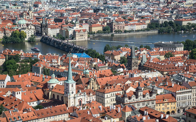 View of Prague from above in the sunny day