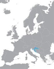 grey Europe vector map with indication of Croatia