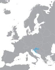Fototapeta grey Europe vector map with indication of Croatia