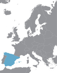 grey Europe vector map with indication of Spain