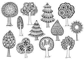 Hand drawn set of vector trees in doodle style.