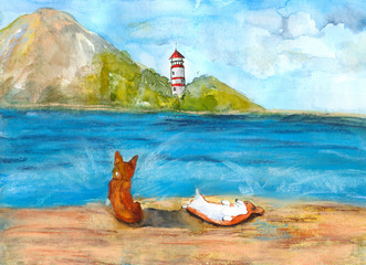 Corgi the sea. The watercolors and soft pastels, handmade.