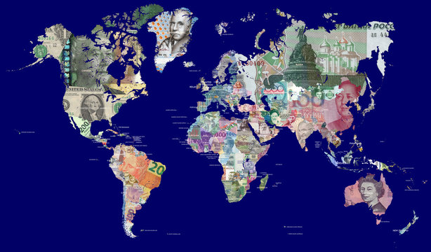 Detailed map of the world in all the world's currencies.  Each country is represented with one of its most recently issued banknotes  Full resolution file is about 30MP in size.