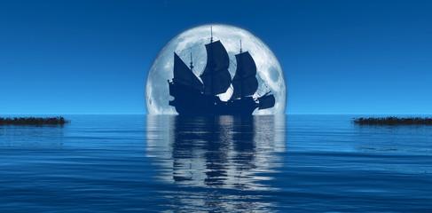 Wall Murals Ship moon and sailing ship