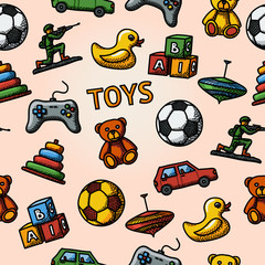 Seamless toys handdrawn pattern with - car, duck, bear, pyramid