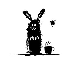 Funny rabbit black silhouette. Sketch for your design