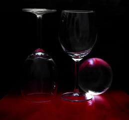 Abstract composition with three glass objects