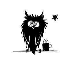Funny owl black silhouette. Sketch for your design