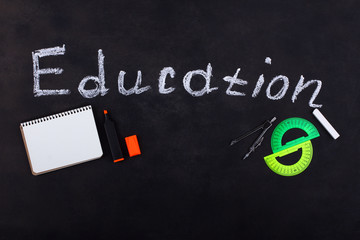 black board and stationery