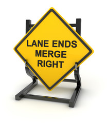 Road sign - lane ends merge right