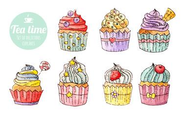 Set of watercolor delicious cupcakes / food / tea