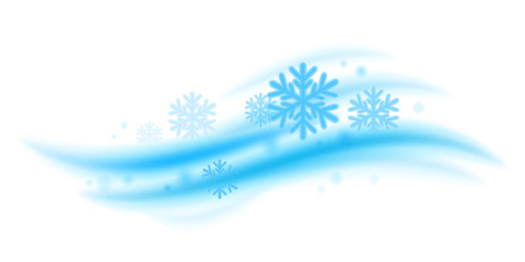 Cool fresh mint wave with snowflakes vector illustration.