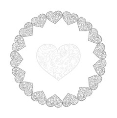 heart light, draw the outline of a vintage swirls in a circle of