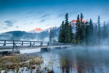 Canadian Landscape: Misty Sunrise at Pyramid Lake in Jasper, Alberta
