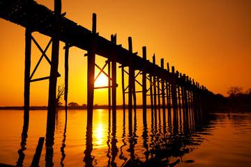 Fototapeta U Bein Bridge, Mandalay, Myanmar obraz