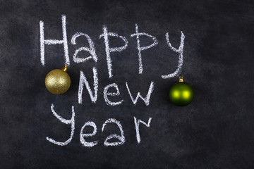 black board and an inscription happy new year
