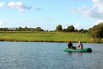 landscape water fishing people
