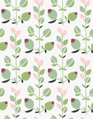 Seamless hand-drawn doodle floral pattern