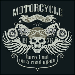 Motorcycle Design Template Logo. Skull rider