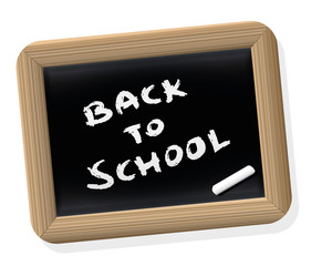 BACK TO SCHOOL - written on a retro styled slate tablet with blackboard chalk. Isolated vector illustration on white background