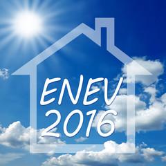 ENEV 2016 mit Haus und Wolken, Sonne