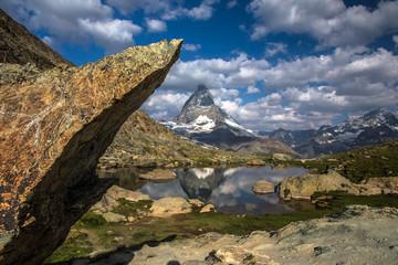 Swiss beauty, Riffelsee lake and Matterhorn mount reflexion