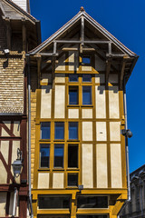 Beautiful ancient half-timbered house (XVI c) in Troyes. France.