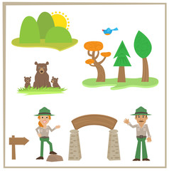 Park Rangers - Cartoon set of park rangers, bears and nature icons. Eps10