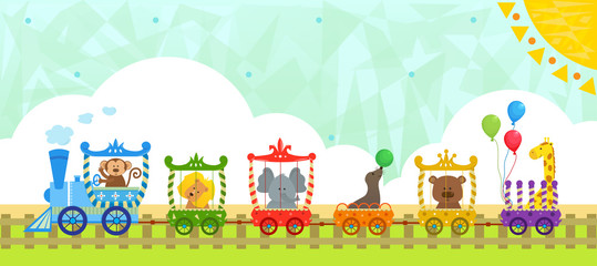 Circus Train With Background - Cute circus train with baby animals and a decorative background. Eps10