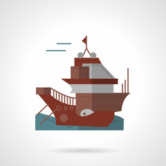 Cargo vessel flat vector icon