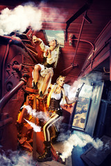 Two sexy woman in the steam-punk clothes in the cabin of a vinta