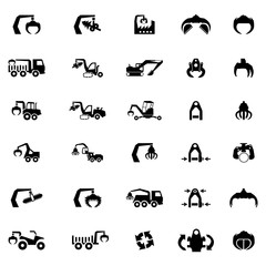 Vector icon set of Heavy machine, tractor and vehicles