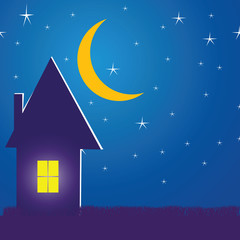 Illustration with a house in the night