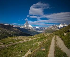 Swiss beauty, path above valley and Matterhorn mount