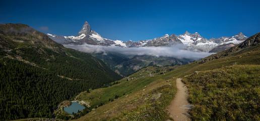 Swiss beauty, path above valley and Matterhorn