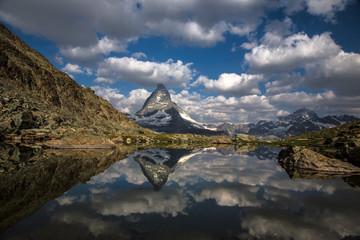 Swiss beauty, Riffelsee lake with Matterhorn mount reflexion