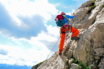 Photo sur Aluminium Alpinisme Klettern am Fels
