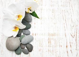 Acrylic Prints Orchids with massage stones